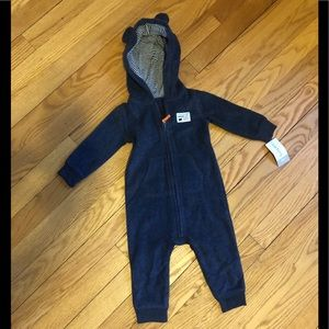 NWT 9 month one piece fleece bear outfit